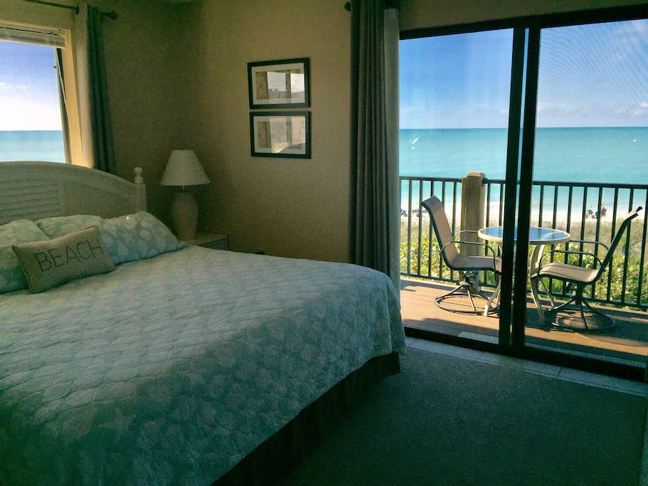 Master bedroom with King bed private balcony overlooking the Gulf of Mexico!