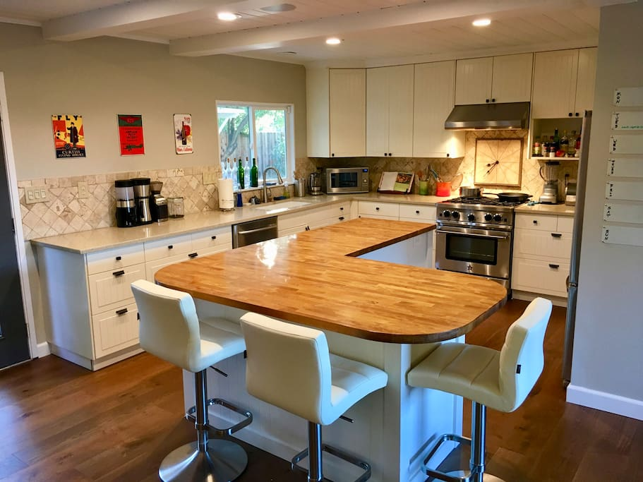 Kitchen, with entertaining at island