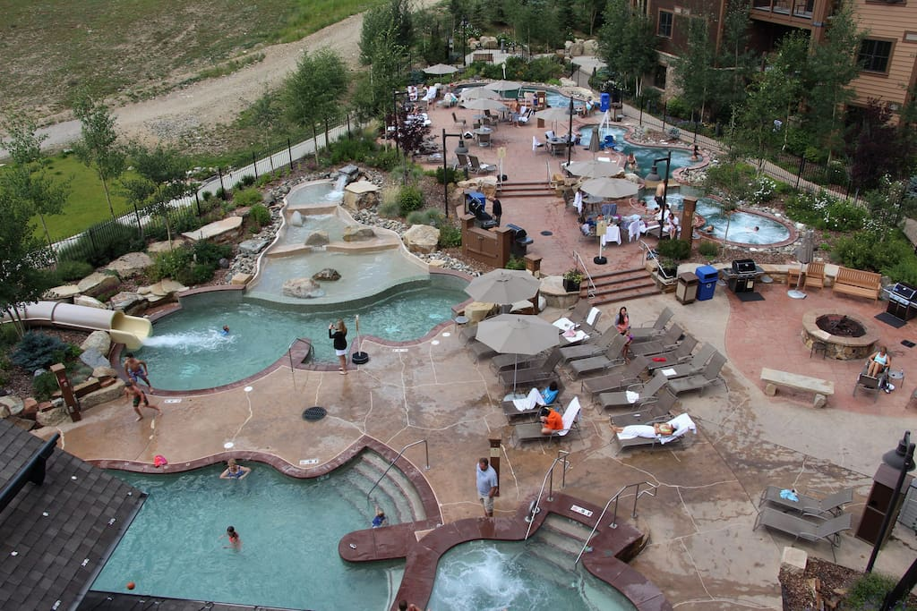 There'a actually 4 outdoor hot tubs, and a small heated pool outside