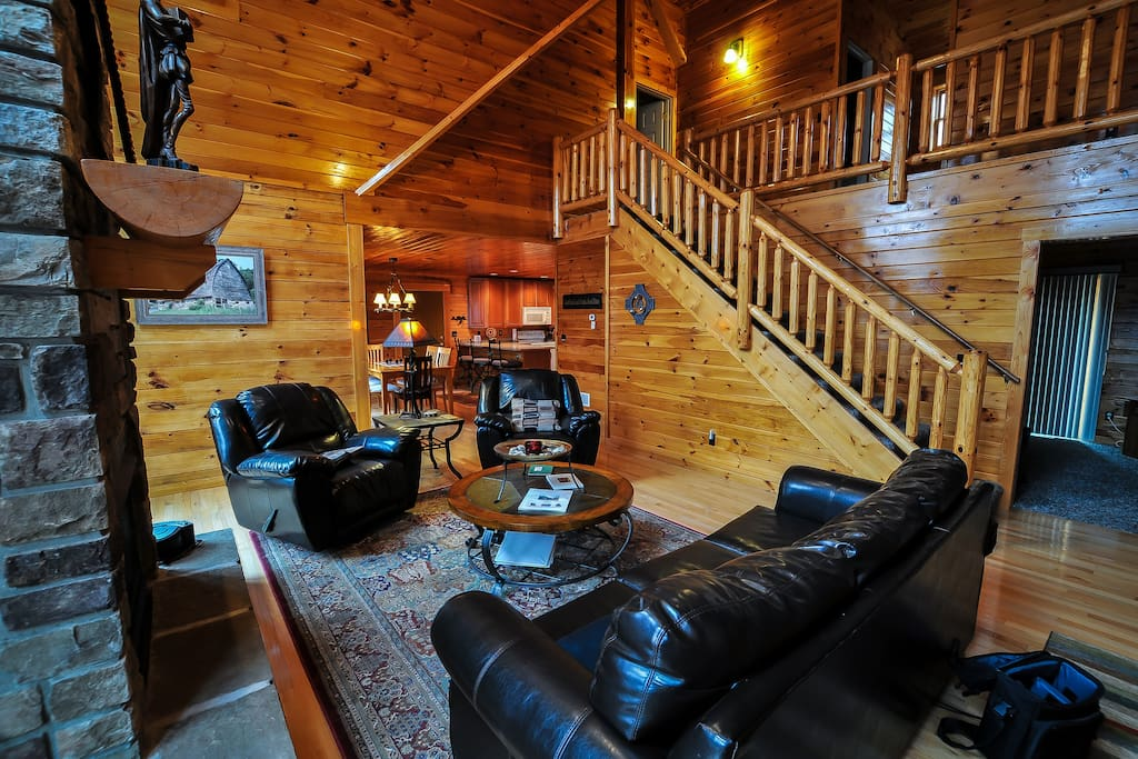 Great Room of this Log Cabin is sure to impress!