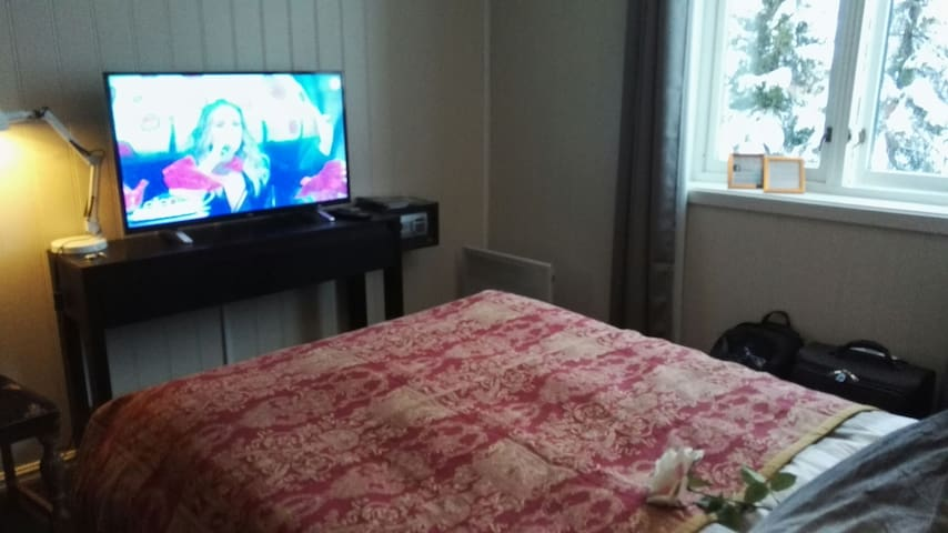 Your room with big Tv and the bed is so good