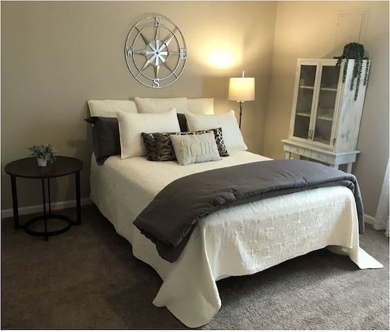 Master bedroom with comfy new Queen size Aloe Vera Cool Gel bed