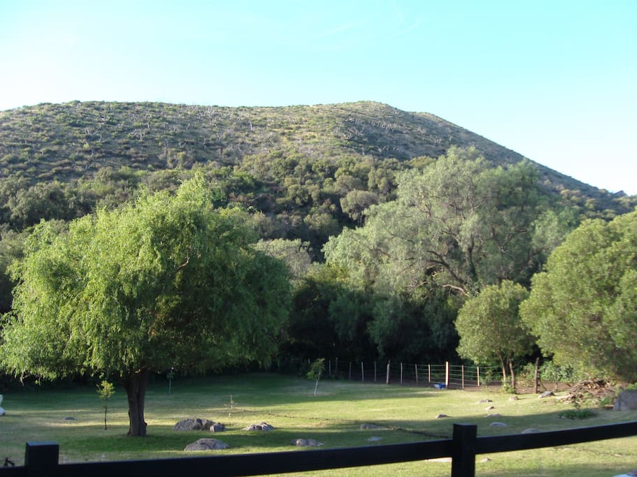 vista del jardín y las sierras desde la terraza y el living