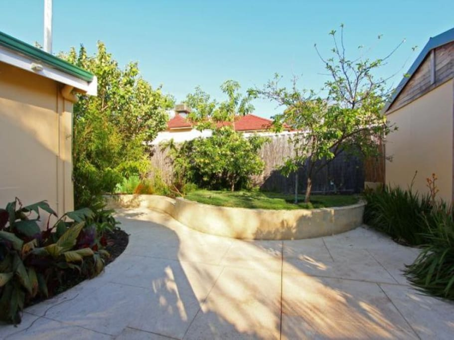 Fully fenced backyard with undercover entertaining area and BBQ.
