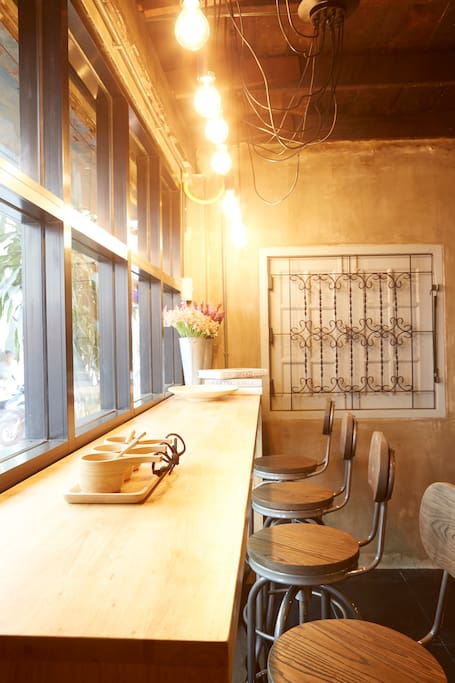 Window seat counter at cafe