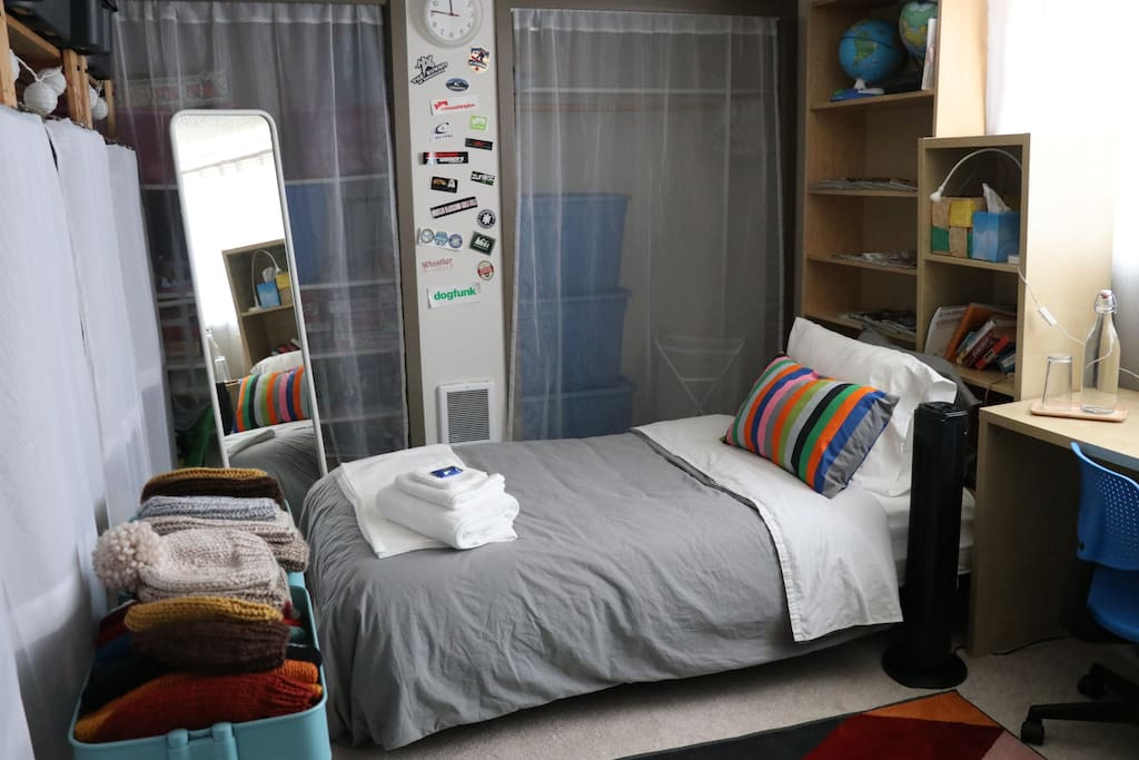 Your bed is a single-sized futon.  Its not as big but for those outdoorsy peeps it will do as we pretty much can sleep anywhere after a long day playing outside in the...snow?