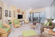 Great views of the Gulf from the 7th floor condo's cozy living room.