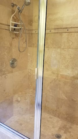 Master bathroom walk in double shower