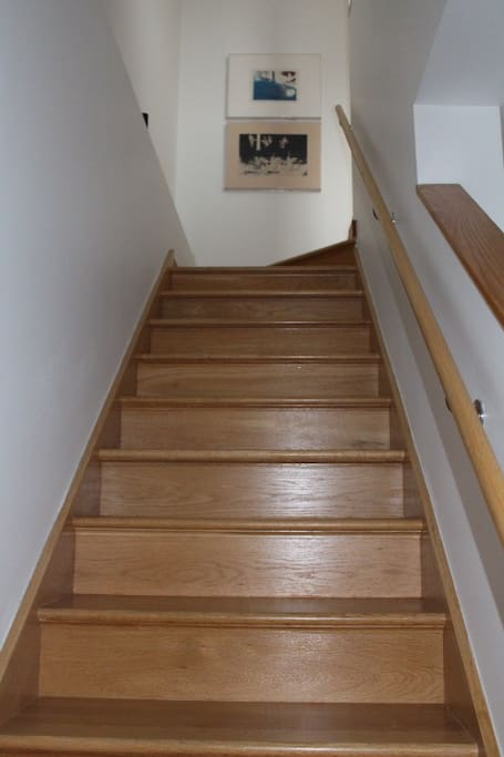 stairs to upper level's bedroom