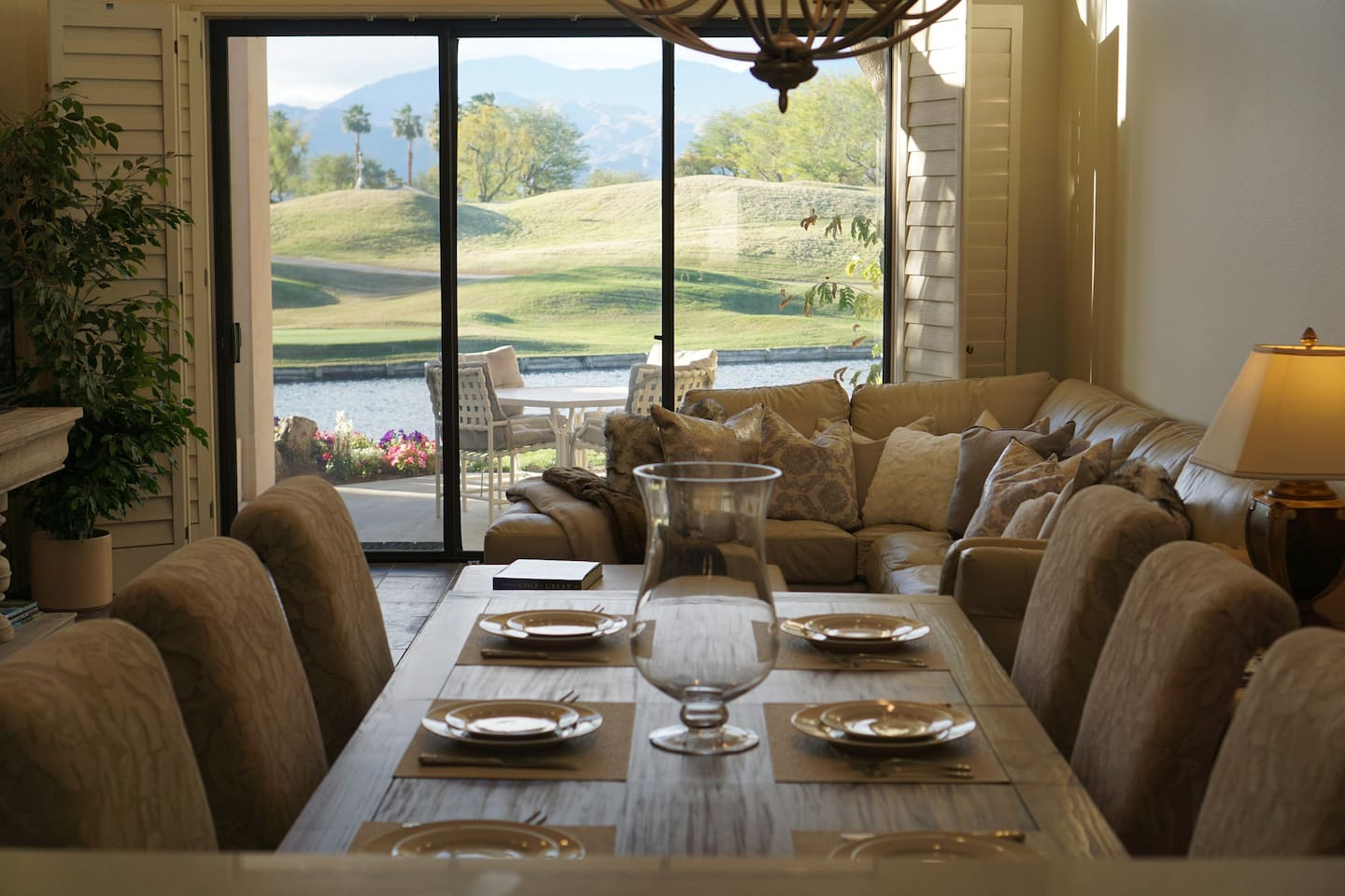Dine on the solid wood table with amazing views for all guests.