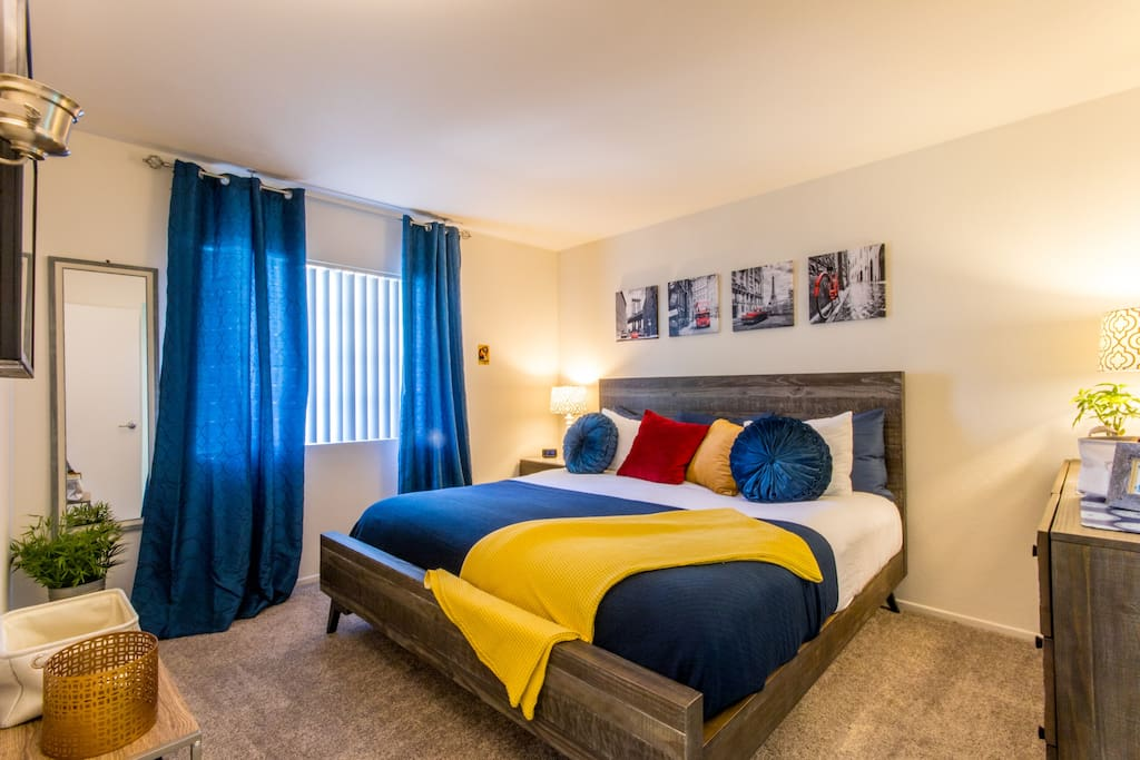 Master Bedroom Suite custom decorated with everything you need including USB chargers to give your phone and other devices the power!