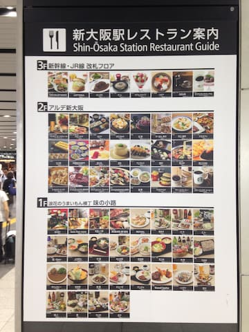 新大阪车站内有很多美食、餐厅及伴手礼店There are many food and restaurants in Shin-Osaka Station.