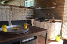 Little kitchen area at the roof terrace........