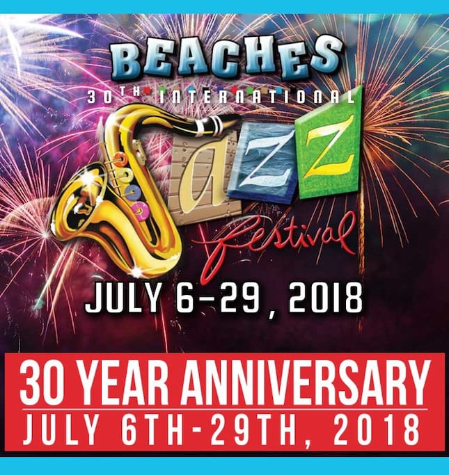 Beaches Jazz Festivities is here with musicians from around the world! Don't miss the 30 year anniversary this year & the fun beach run!