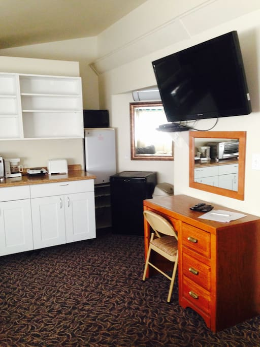 Free HBO and wi-fi!  Kitchenette, and desk area