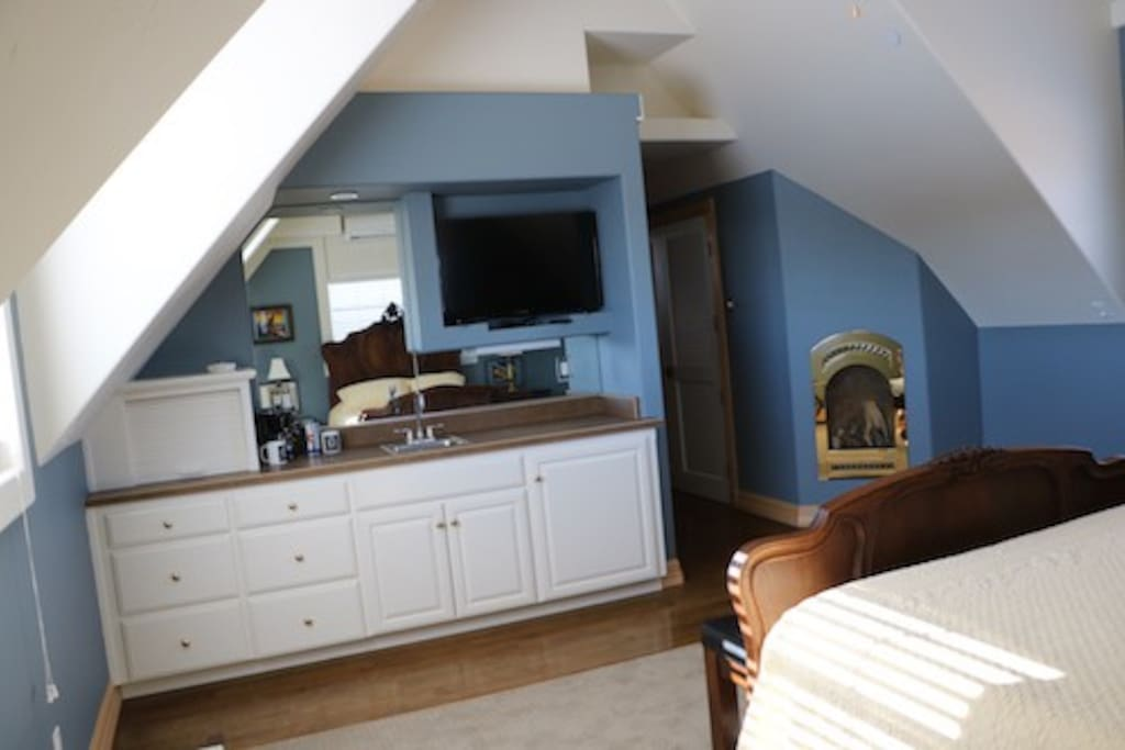 Fireplace, microwave, coffee maker, frig, sink, TV and private heating & air conditioning.