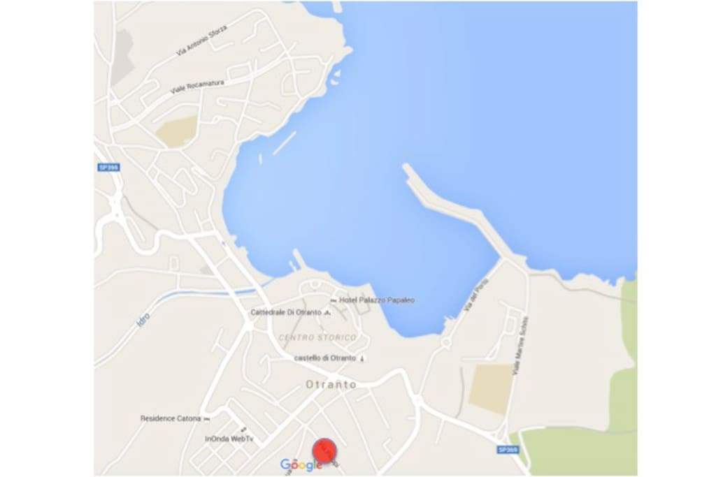 It is 6 minutes walk to the sea by the port or beaches in the town. It is where the locals live, the other side of town to the tourist apartment blocks.