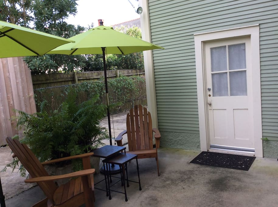 This is your private patio in front of entrance to Guest Suite.