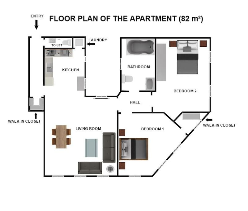 Floor plan of the apartment, plenty of windows which makes it bright