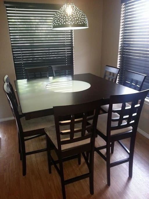 A kitchen table for entertaining