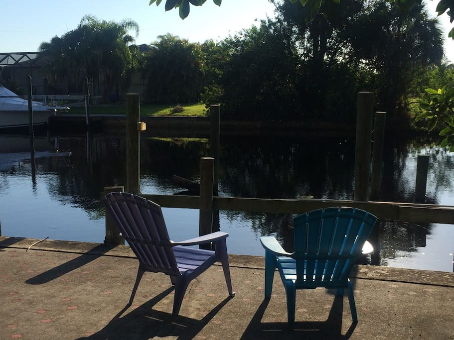 Relax with your morning coffee and watch fish jumping from the dock!