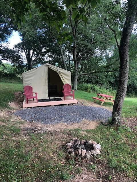 Red Rooster Glamping site with beautiful views