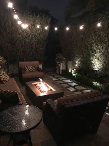 Night view of front patio