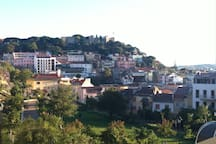 View from the Graça garden to the apartment and the castle behond