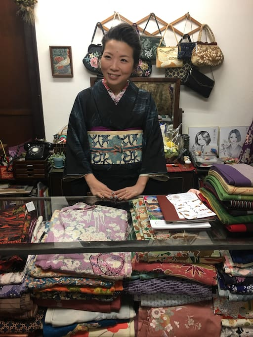 Lady of local 2nd hand Kimono shop for gifts, very near by.