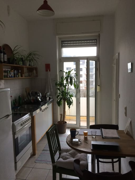 a cosy kitchen with balcony