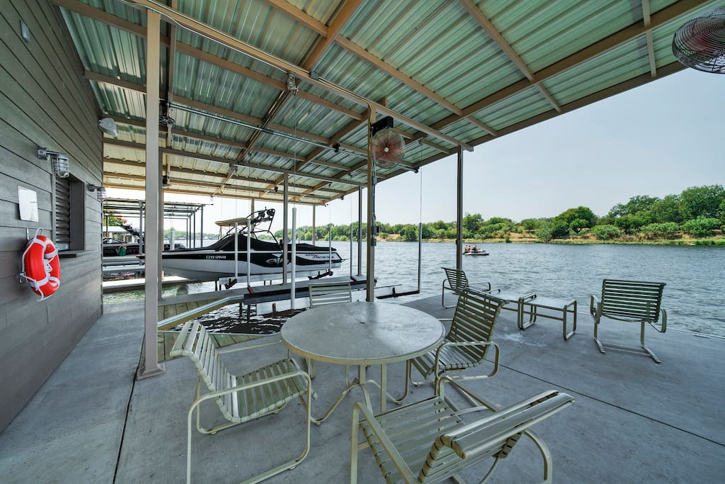 Seating area on dock