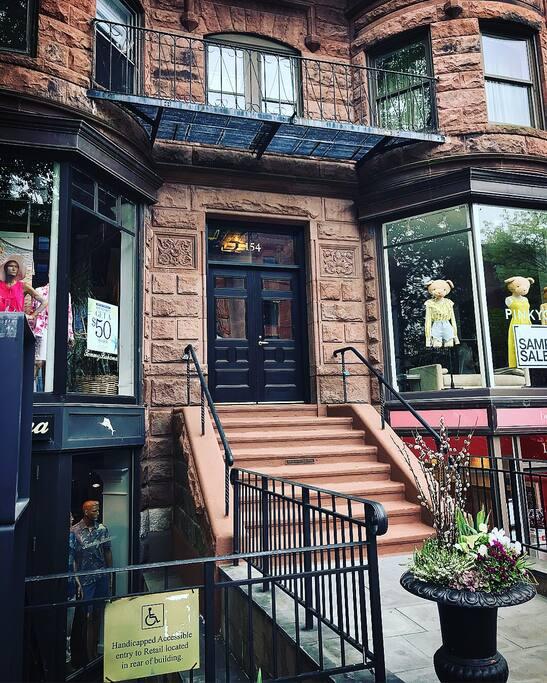 Building entrance on Boston's most popular Newbury St.