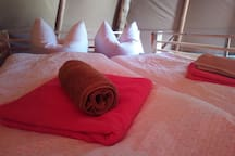 Bettwäsche und Handtücher sind inklusive