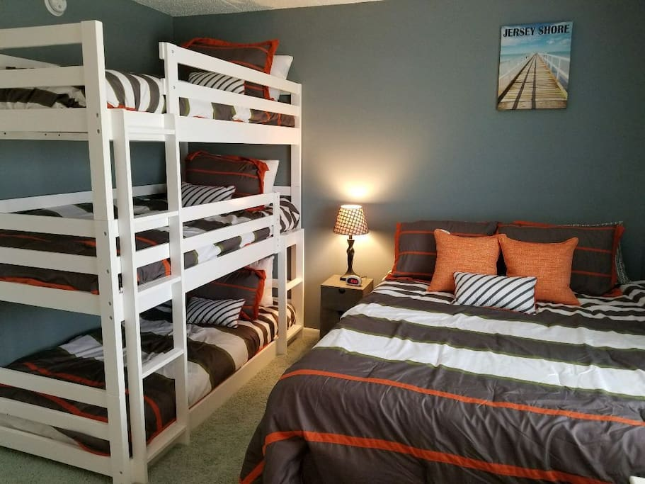 Brand new Triple bunkbeds and queen memory foam mattress