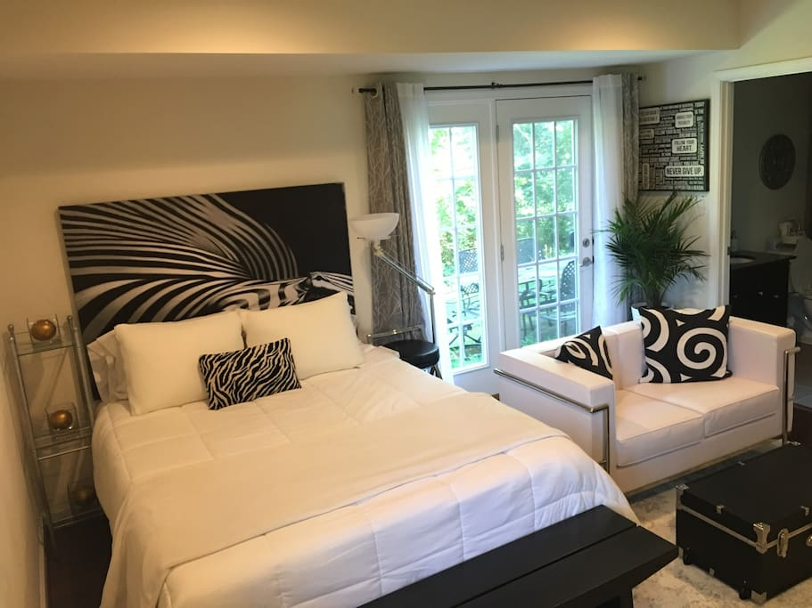 Crisp and clean and white.  Come 'home'  to relax after a long day of working, or studying or shopping and enjoying the sights and sounds of Metro DC.