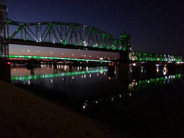 The Arkansas River Bridges' night lights