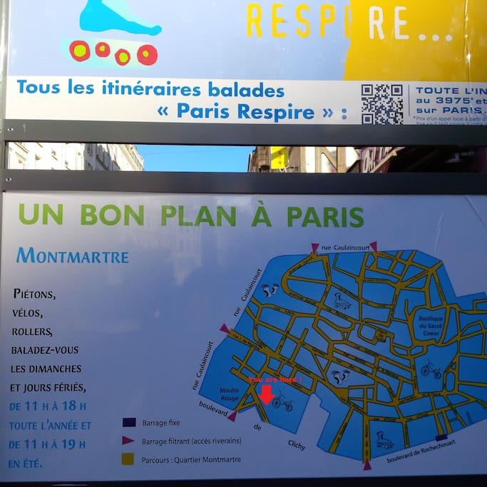Quartier Lepic-Montmartre, piétonnier le dimanche. Bonne balade.