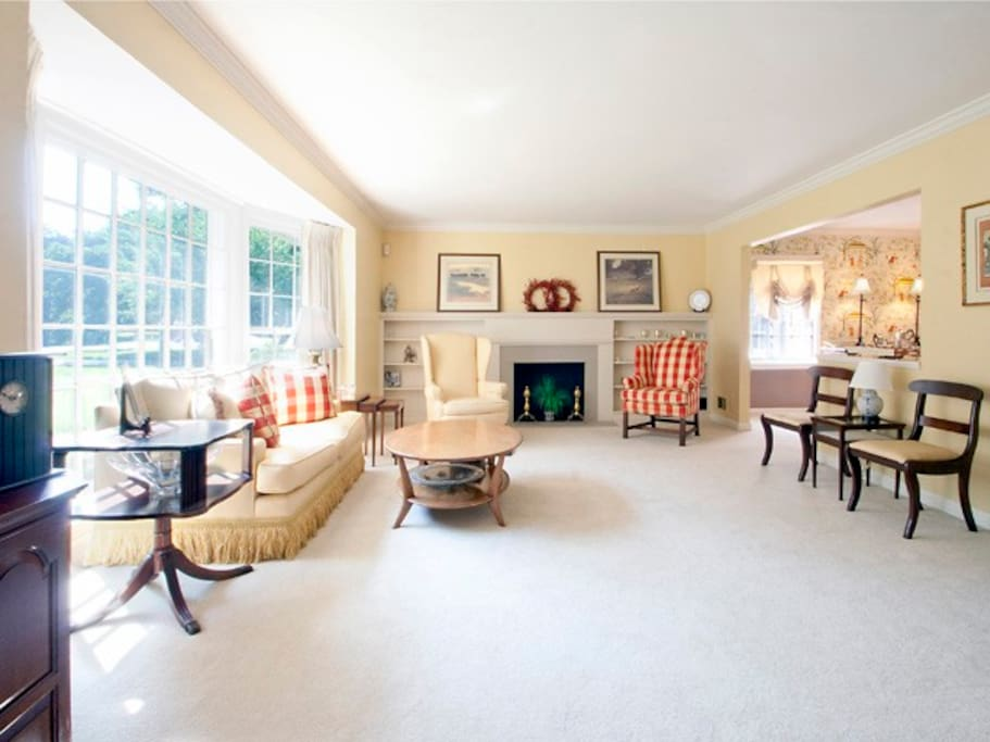 Family room with big bay windows