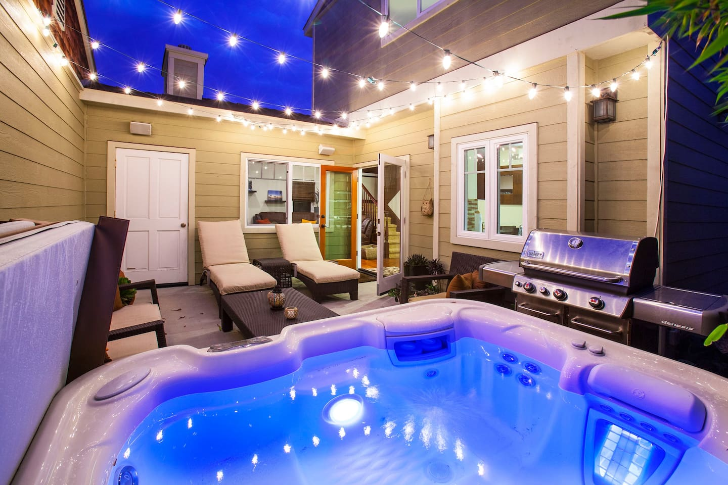 Enjoy your own private courtyard and new Hot Springs Spa. Beach Gear is located in courtyard closet.