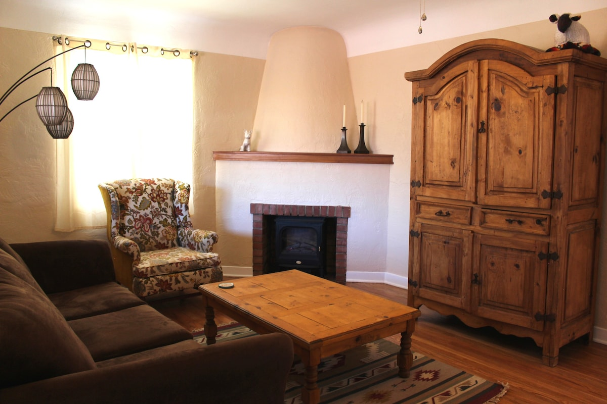 Relax In A New Mexican Style Living Room With Warm Wood Furniture And  Original Fireplace