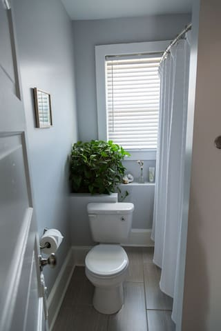 The bathroom has lots of light. We provide natural soap, shampoo/conditioner & other sundries.