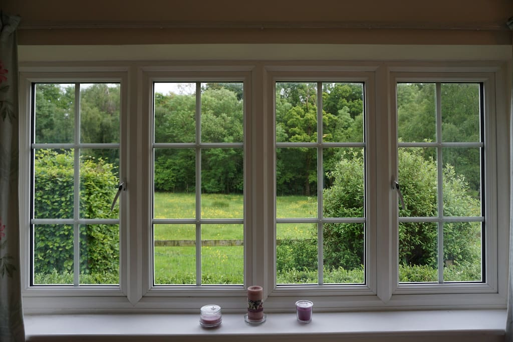 View from the bedroom- meadow and edge of the forest