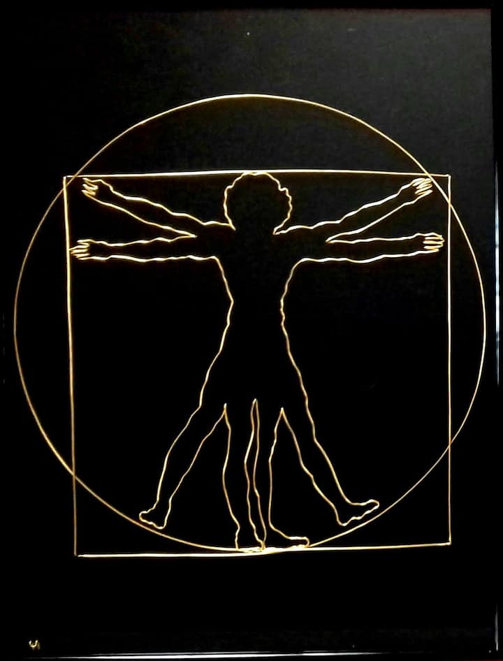 Vitruvian Man - wire sculpture