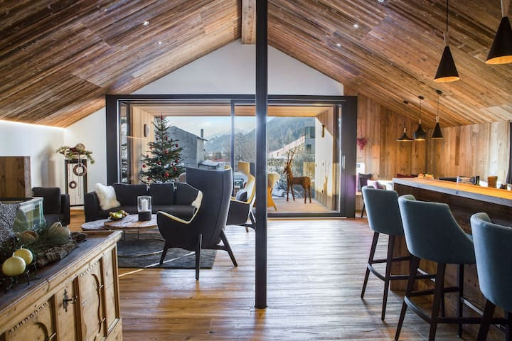 Modern Holiday Home Chalet Ortles with Mountain View, Wi-Fi, Terrace & Sauna; Parking Available