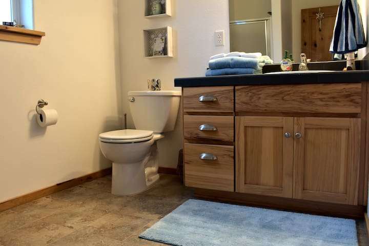 Large private bathroom with shower stall.