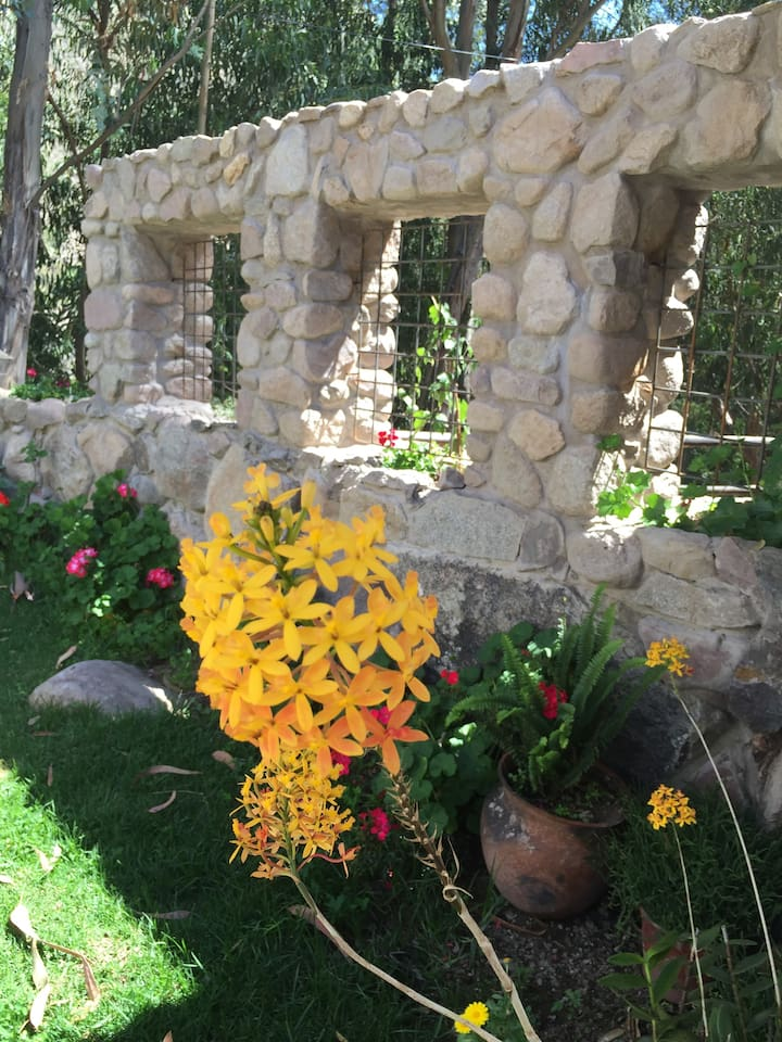 Enjoy our secluded and peaceful gardens with many flowers and plants for your enjoyment.