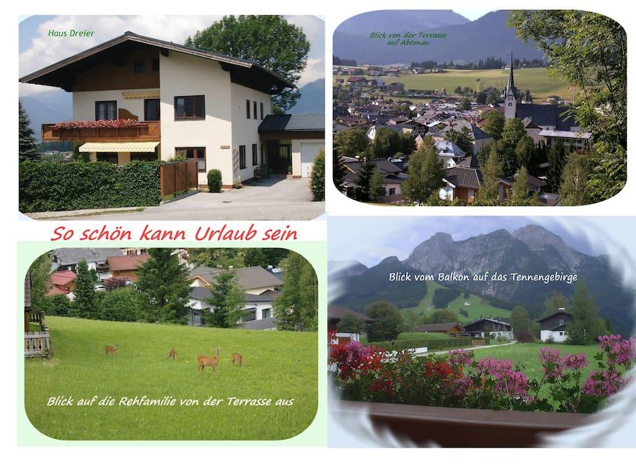 Haus Dreier mit Ausblick auf Abtenau und die Berge