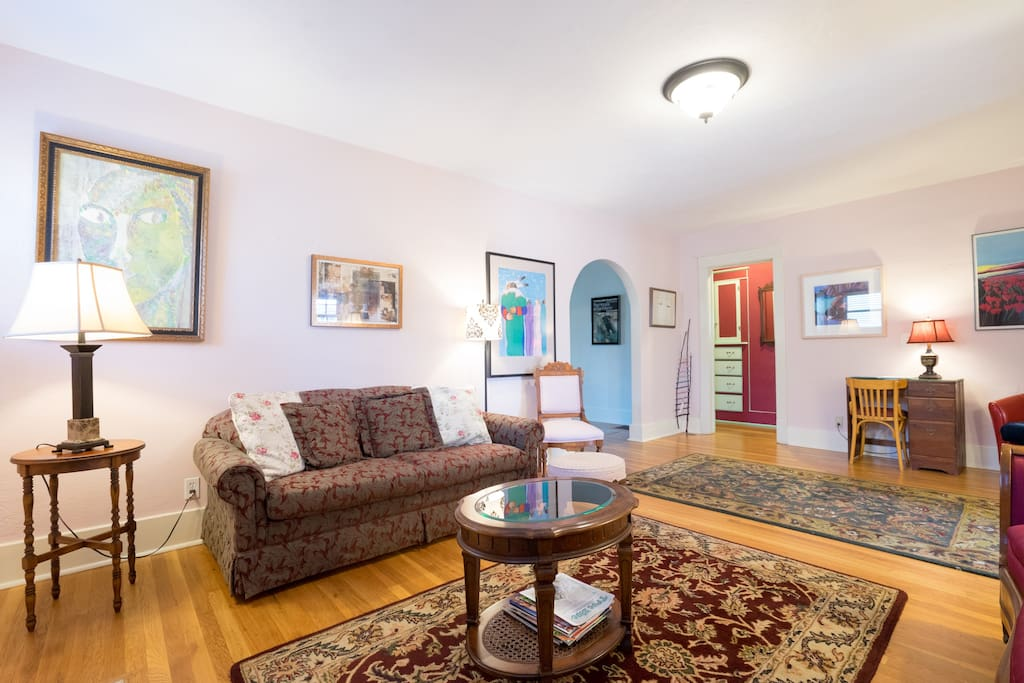 The front parlor/living room is a great space for late night conversation.  A quiet space separate from the TV/library den.