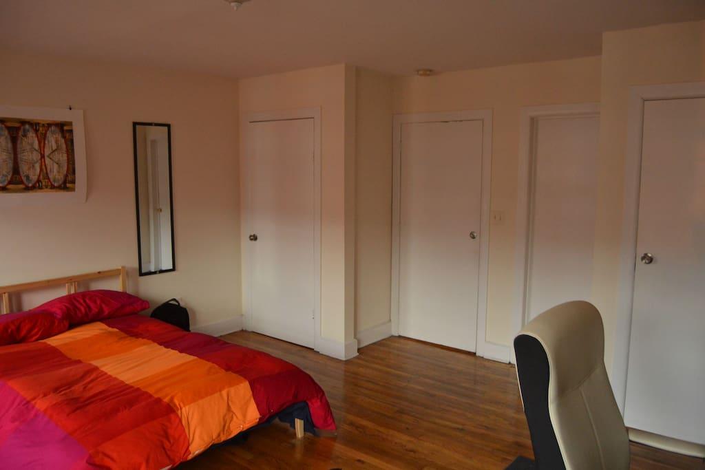 Main bedroom. Left door is your closet.
