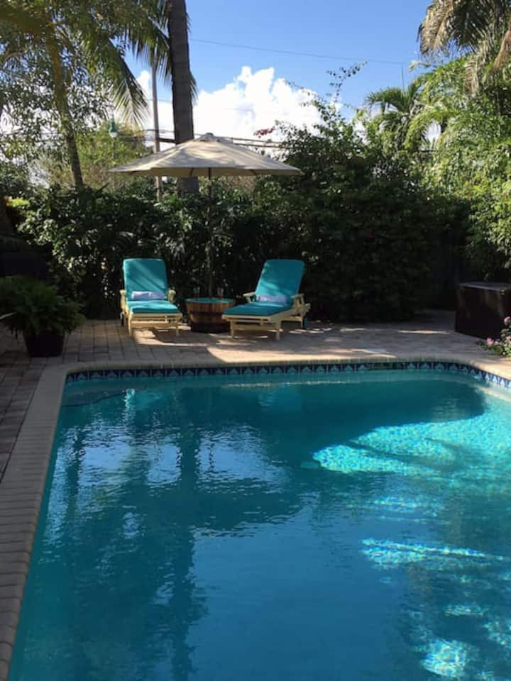 Just a few minutes to the beach with Heated pool